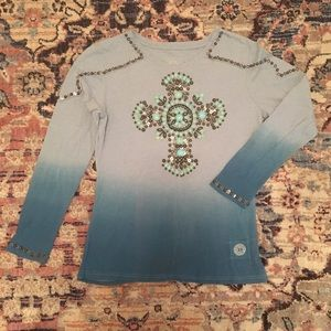 Double D Turquoise Tee Ombré Hand Beaded Stones